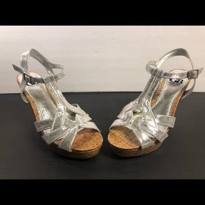 Gianni Bini Chrome Snakeskin Look Wedge Sandals